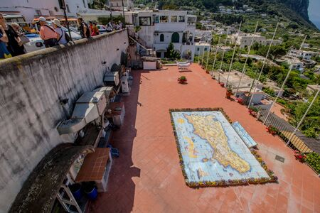 Colorful oversized map of the island of Capri, Italy