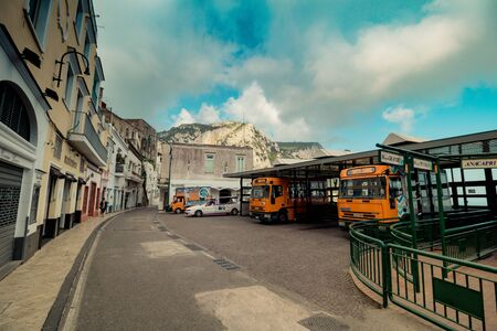 The main bus station in the center of Capri, Italy