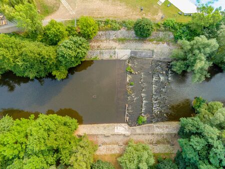 The outdoor swimming pool Riviera in Brno from above, Czech Republic Standard-Bild - 132053007