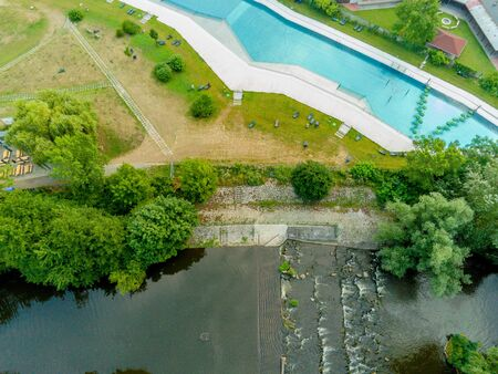 The outdoor swimming pool Riviera in Brno from above, Czech Republic Imagens
