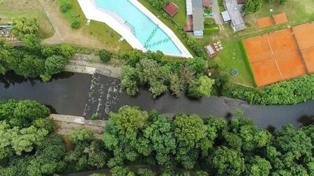 The outdoor swimming pool Riviera in Brno from above, Czech Republic Standard-Bild