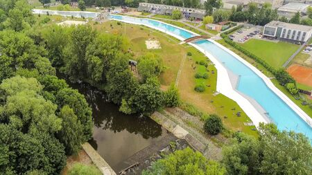 The outdoor swimming pool Riviera in Brno from above, Czech Republic Imagens - 132053659