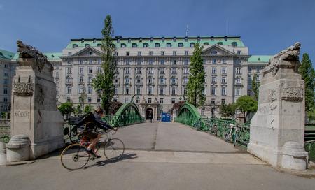 Vienna, Austria? 04/27/2018: The Customs office footbridge in spring Stock fotó - 131738894