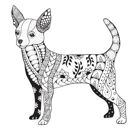 チワワは、様式化された図、フリーハンドの鉛筆、手描き、パターン。禅芸術。T シャツと着色の書籍を印刷します。