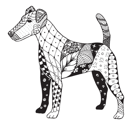 Fox terrier stylized, illustration, freehand pencil, hand drawn, pattern. Print for t-shirts and coloring books.