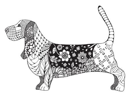 Cabeza De Perro Basset Zentangle Estilizada Vector Ilustración