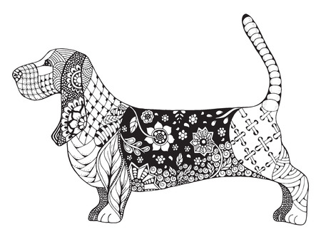 basset hound: Basset hound stylized, illustration, freehand pencil, hand drawn, pattern. Zen art. Ornate Lace. Print for t-shirts and coloring books. Illustration