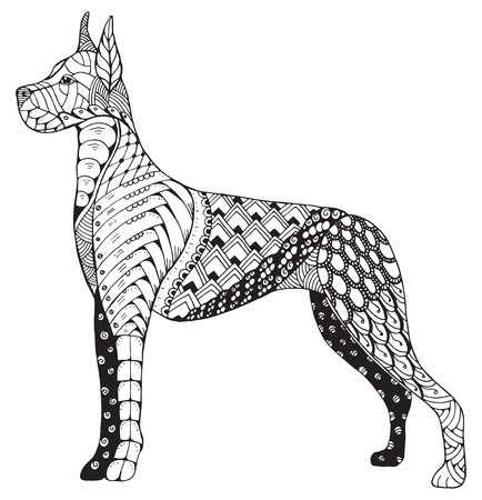 Great Dane dog stylized head, freehand pencil, hand drawn, pattern. Zen art. Coloring. Print for t-shirts and coloring books.