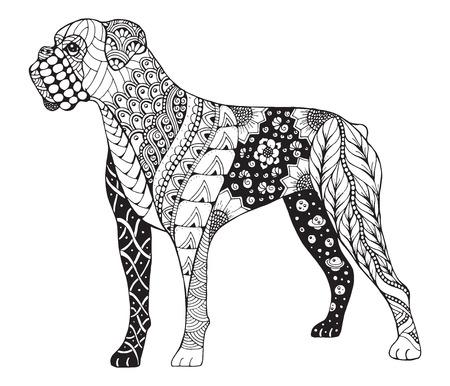 Boxer Dog Stylized Illustration Freehand Pencil Hand Drawn Pattern Zen Art