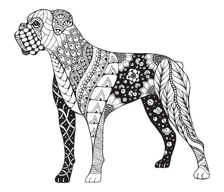 Boxer dog stylized, illustration, freehand pencil, hand drawn, pattern. Zen art. Lace. Print for t-shirts and coloring books.