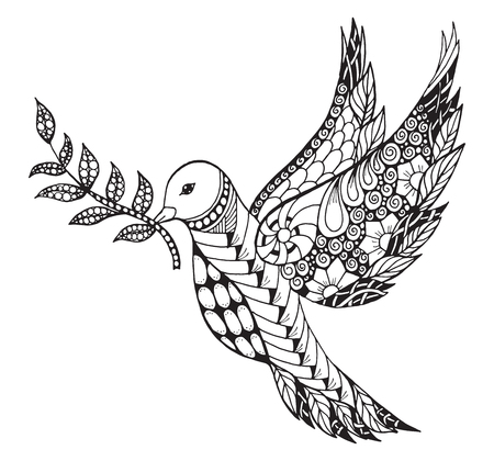 stylized peace dove with olive branch for International Peace Day. Print for coloring books and t-shirts.