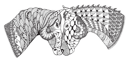 affection: Two horses showing affection, stylized, freehand pencil, hand drawn, pattern, love. Zen art. Print for coloring books and t-shirt.