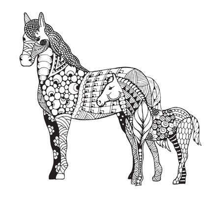 foal: Mare with little foal standing  stylized. Freehand pencil. Zen art. Vector illustration.