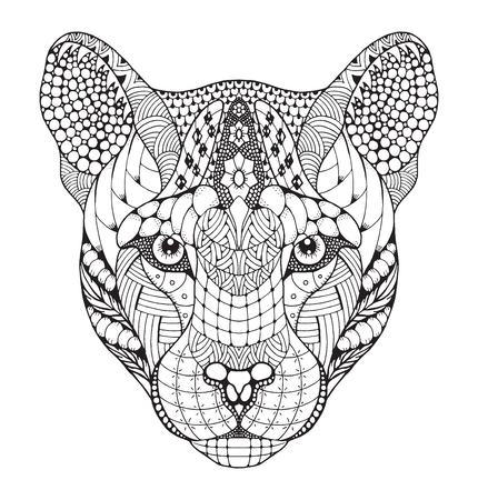 Cougar, mountain lion, panther head stylized, illustration, pattern, freehand pencil, hand drawn. Zen art. print for t-shirts and coloring books.