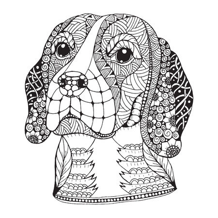 Beagle dog head stylized, illustration, freehand pencil, hand drawn, pattern. Zen art. Print for t-shirts and coloring books.