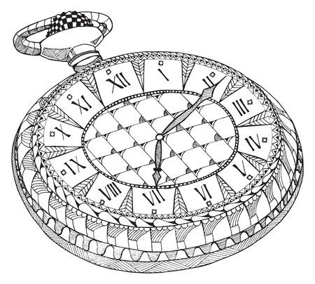 Retro reloj de bolsillo. Zentangle estilizado. Patrón. Reloj de la vendimia. Lápiz de mano libre. Dibujado a mano. Impresión para las camisetas. Ilustración de vector