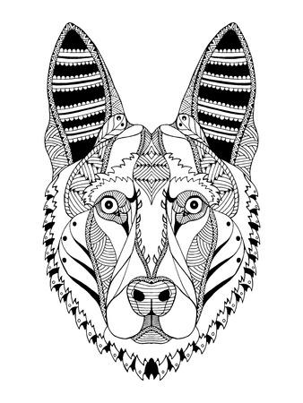 German shepherd dog head zentangle stylized, vector, illustration, freehand pencil, hand drawn, pattern. Zen art. Ornate vector. Lace. Print for t-shirts.