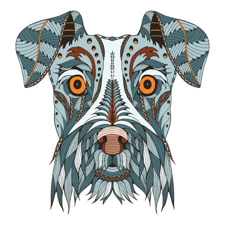 Schnauzer dog head zentangle stylized, vector, illustration, freehand pencil, hand drawn, pattern. Zen art. Ornate vector. Lace. Color. Print for t-shirts.