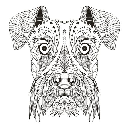 Schnauzer dog head zentangle stylized, vector, illustration, freehand pencil, hand drawn, pattern. Zen art. Ornate vector. Lace. Print for t-shirt.