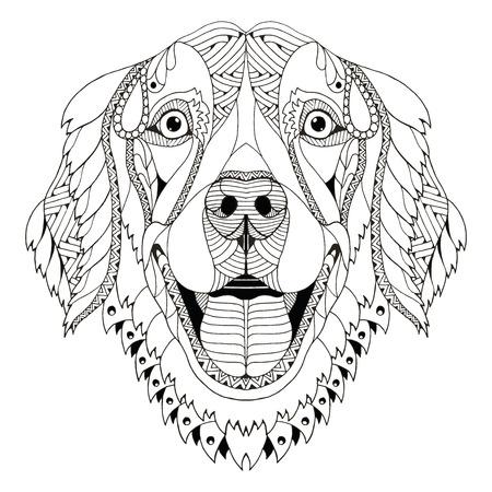 Golden retriever dog zentangle stylized head, freehand pencil, hand drawn, pattern. Zen art. Ornate vector. Print for t-shirts.