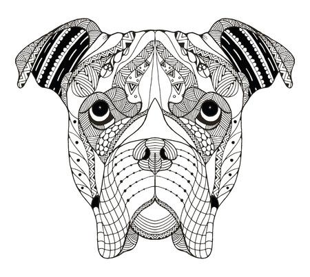 Boxer dog head zentangle stylized, vector, illustration, freehand pencil, hand drawn, pattern. Zen art. Ornate vector. Lace. Illustration