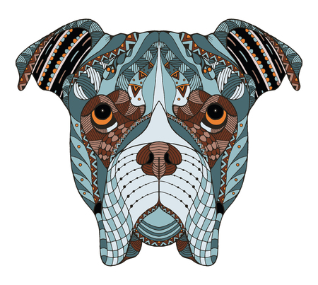 Boxer dog head zentangle stylized, vector, illustration, freehand pencil, hand drawn, pattern. Zen art. Ornate vector. Lace. Color. Print for t-shirts.