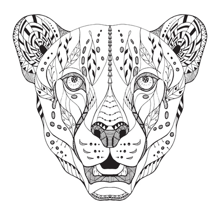 Cheetah head zentangle stylized, vector, illustration, pattern, freehand pencil, hand drawn. Zen art. Ornate vector. Print for t-shirts.