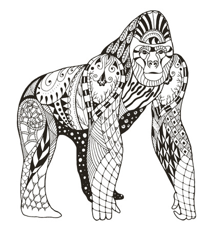 Gorilla zentangle stylized, vector, illustration, freehand pencil, hand drawn, pattern. Zen art. Print for coloring books and t-shirts.