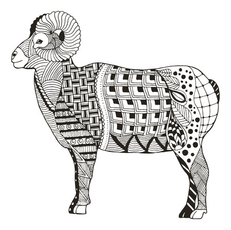 Male rocky mountain bighorn sheep ram standing zentangle stylized, vector illustration, freehand pencil, hand drawn, pattern, black and white. Print for coloring books.