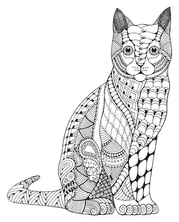 Cat zentangle stylized, vector, illustration, pattern, freehand pencil, hand drawn. Zen art. Ornate. Lace. Print for t-shirts and coloring books.