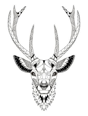 Deer head zentangle stylized, vector, illustration, freehand pencil, hand drawn, pattern. Zen art. Ornate vector. Lace.