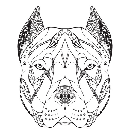black and white pit bull: Pit bull terrier head zentangle stylized, vector, illustration, freehand pencil, hand drawn, pattern. Zen art. Ornate vector. Lace. Print for t-shirts. Illustration