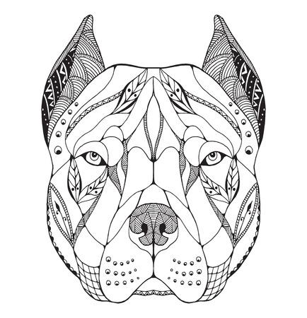 Pit bull terrier hoofd zentangle gestileerd, vector, illustratie, uit de vrije hand potlood, getrokken hand, patroon. Zen art. Sierlijke vector. Kant. Afdrukken voor t-shirts.
