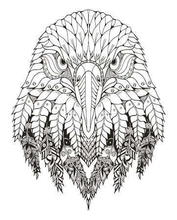 Eagle head zentangle stylized, vector, illustration, freehand pencil, hand drawn, pattern. Zen art. Ornate vector. Lace. Coloring. Print for t-shirts.