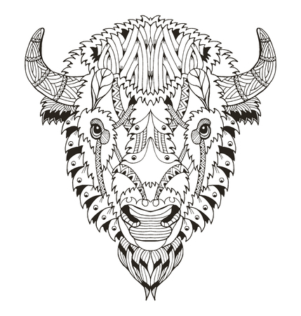 American buffalo head zentangle stylized, vector, illustration, freehand pencil, hand drawn, pattern. Zen art. Ornate vector. Lace. Coloring. Print for t-shirts and coloring books.