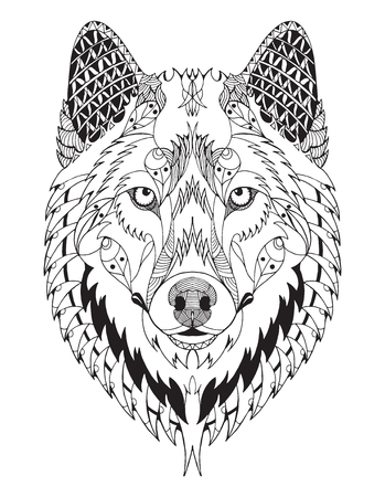 Gray wolf head zentangle stylized, vector, illustration, freehand pencil, hand drawn, pattern. Zen art. Ornate vector. Print for t-shirts. Illustration