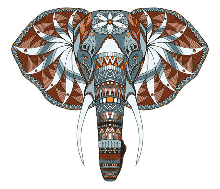 코끼리 머리 zentangle 양식에 일치시키는, 벡터, 그림, 자유형 연필, 손으로 그린, 패턴. 젠 아트입니다. 화려한 벡터입니다. 레이스. 색깔. T- 셔츠 용으로