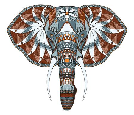 Testa di elefante zentangle stilizzato, vettore, illustrazione, matita a mano libera, disegnati a mano, modello. l'arte Zen. ornato vettoriale. Pizzo. Colore. Stampa per la t-shirt. Archivio Fotografico - 69915549