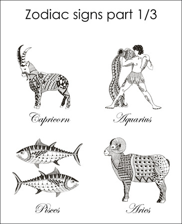 Zodiac signs. Capricorn. Aquarius. Pisces. Aries. Part one. Zentangle stylized. Vector. Illustration. Hand drawn. Freehand pencil. Horoscope. Print for prints. 矢量图像
