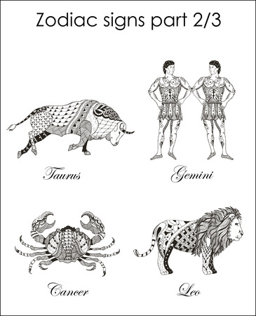 Zodiac signs. Taurus. Gemini. Cancer. Leo. Part two. Zentangle stylized. Vector. Illustration. Hand drawn. Freehand pencil. Horoscope. Print for posters. Vektorové ilustrace