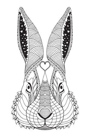 Rabbit head zentangle doodle stylized, vector, illustration, pattern, freehand pencil, hand drawn. Zen art. Coloring. Easter. Print for t-shirts and mobile covers.