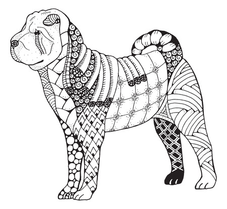 Shar pei dog zentangle doodle stylized, vector, illustration, freehand pencil, hand drawn, pattern. Print for T-shirts and coloring books for adult. Inspiration for tattoo artist.