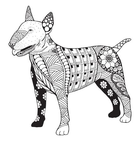 様式化されたブルテリア犬 zentangle 落書き、ベクトル、図、フリーハンドの鉛筆、手描き、パターン。T シャツの大人向けの本ぬりえを印刷します。  イラスト・ベクター素材