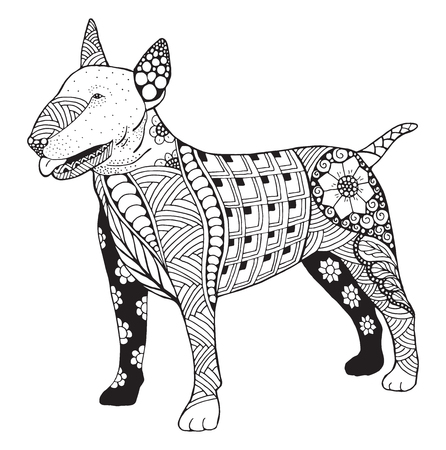 Bull terrier dog zentangle doodle stylized, vector, illustration, freehand pencil, hand drawn, pattern. Print for T-shirts and coloring books for adult. Inspiration for tattoo artist. Иллюстрация