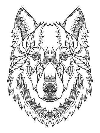 Gray wolf head entangle, doodle stylized, , illustration, hand drawn, pattern. Zen art. Ornate . Black and white illustration on white background.