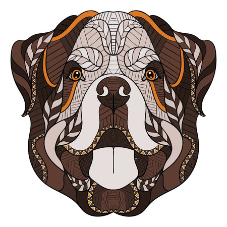 Rottweiler dog zentangle, doodle stylized head, hand drawn, pattern. Zen art. Ornate vector. Color illustration on white background. Print for T-shirts.