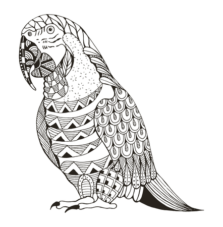 Ara parrot zentangle stylized, vector, illustration, pattern, freehand pencil, hand drawn. Zen art. Ornate vector. Print for t-shirts.