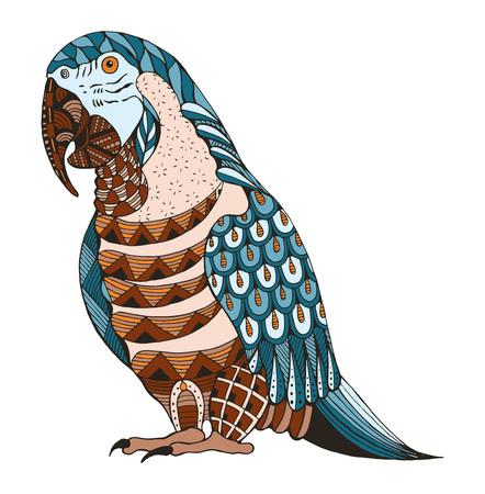 Ara papegaai zentangle gestileerd, vector, illustratie, patroon, freehand potlood, hand getrokken. Kleur. Afdrukken voor t-shirts.