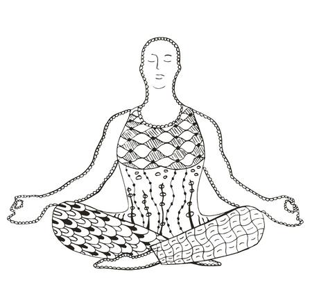 introspection: Man meditating zentangle stylized, vector, illustration, freehand pencil, pattern, doodle. Illustration