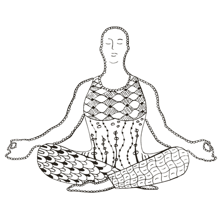 Man meditating zentangle stylized, vector, illustration, freehand pencil, pattern, doodle. Illustration